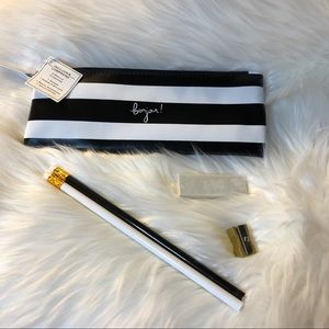 NEW Bonjour Black & White Pencil Case Gift Set